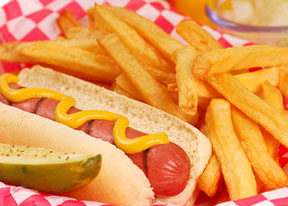 American Diner Hotdog and Fries